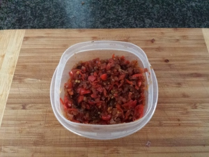 Habanero salsa, cooled down.