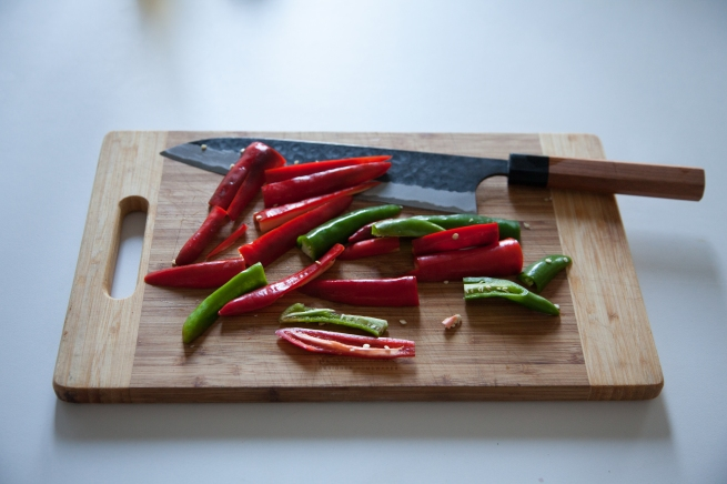 Cut up peppers