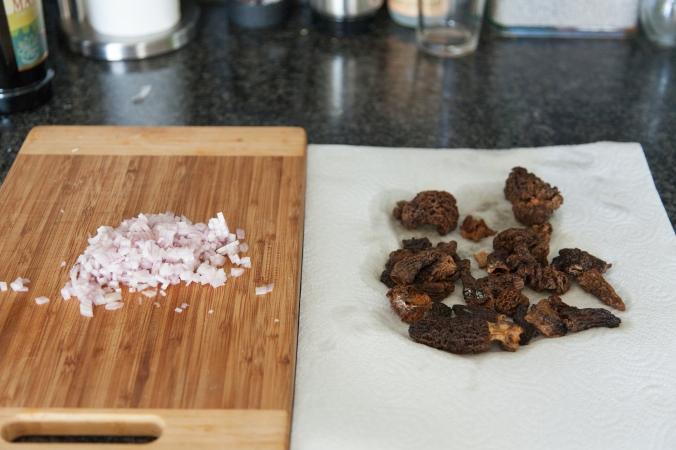 Chopped shallots, drying morels.