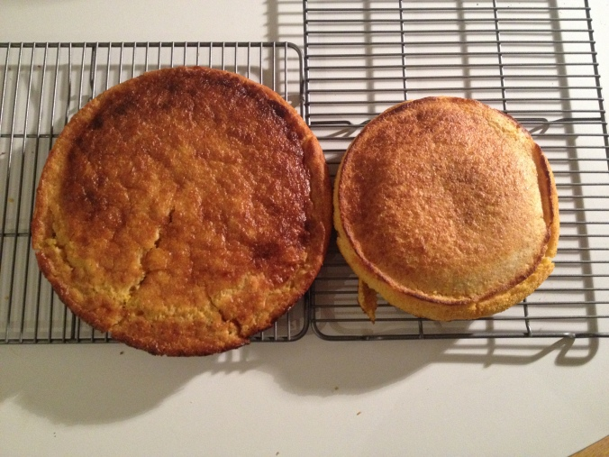 The larger cornbread uses butter and the smaller one suet.